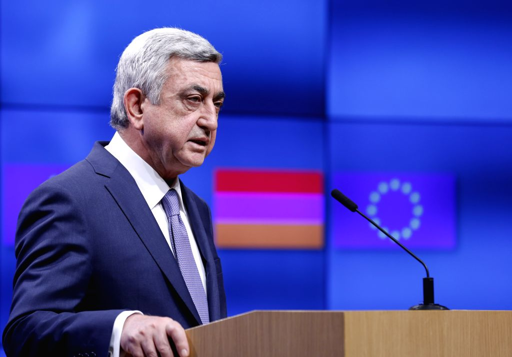 BRUSSELS, Feb. 27, 2017 - Visiting Armenian President Serzh Sargsyan addresses a joint press statement with European Council President Donald Tusk (not seen) after their meeting at EU headquarters in ...
