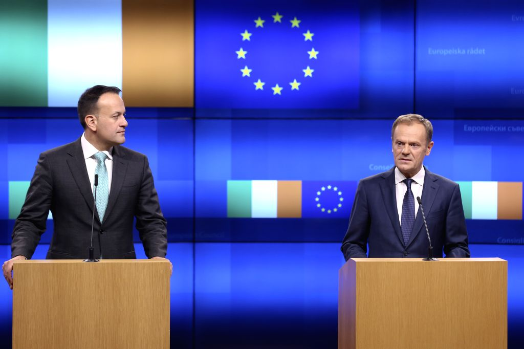 BRUSSELS, Feb. 6, 2019 - Irish Prime Minister Leo Varadkar (L) and European Council President Donald Tusk make a joint statement following their meeting in Brussels, Belgium, on Feb. 6, 2019. - Leo Varadkar