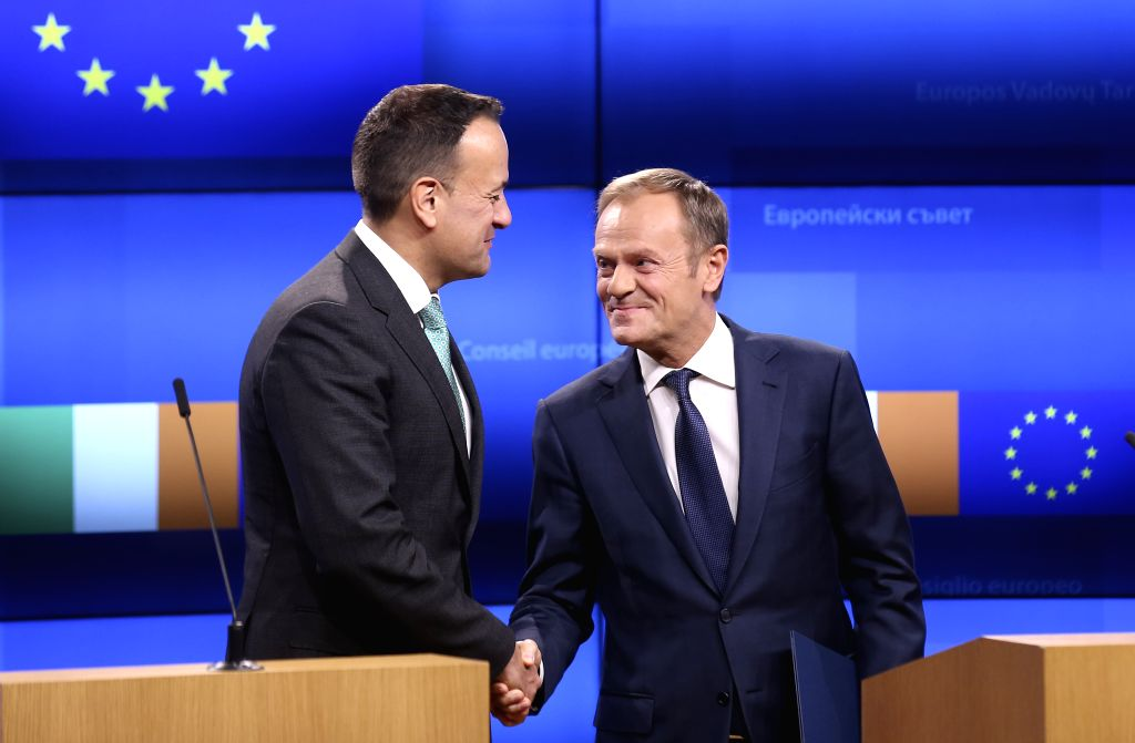 BRUSSELS, Feb. 6, 2019 - Irish Prime Minister Leo Varadkar (L) and European Council President Donald Tusk shake hands as they make a joint statement following their meeting in Brussels, Belgium, on ... - Leo Varadkar