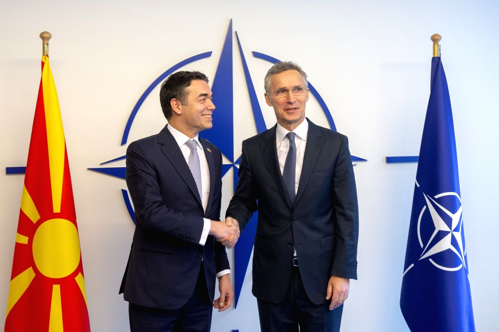 BRUSSELS, Feb. 6, 2019 - Macedonian Foreign Minister Nikola Dimitrov (L) meets with NATO Secretary General Jens Stoltenberg at the alliance's headquarters in Brussels, Belgium, Feb. 6, 2019. The ... - Nikola Dimitrov