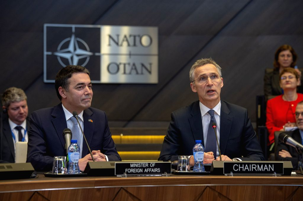 BRUSSELS, Feb. 6, 2019 - Macedonian Foreign Minister Nikola Dimitrov (L, front) meets with NATO Secretary General Jens Stoltenberg (R, front) at the alliance's headquarters in Brussels, Belgium, Feb. ... - Nikola Dimitrov