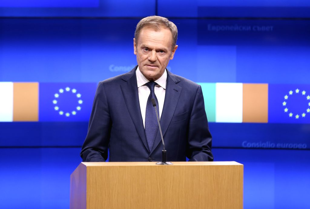 BRUSSELS, Feb. 6, 2019 (Xinhua) -- European Council President Donald Tusk makes a joint statement with Irish Prime Minister Leo Varadkar following their meeting in Brussels, Belgium, on Feb. 6, 2019. (Xinhua/Ye Pingfan/IANS) - Leo Varadkar