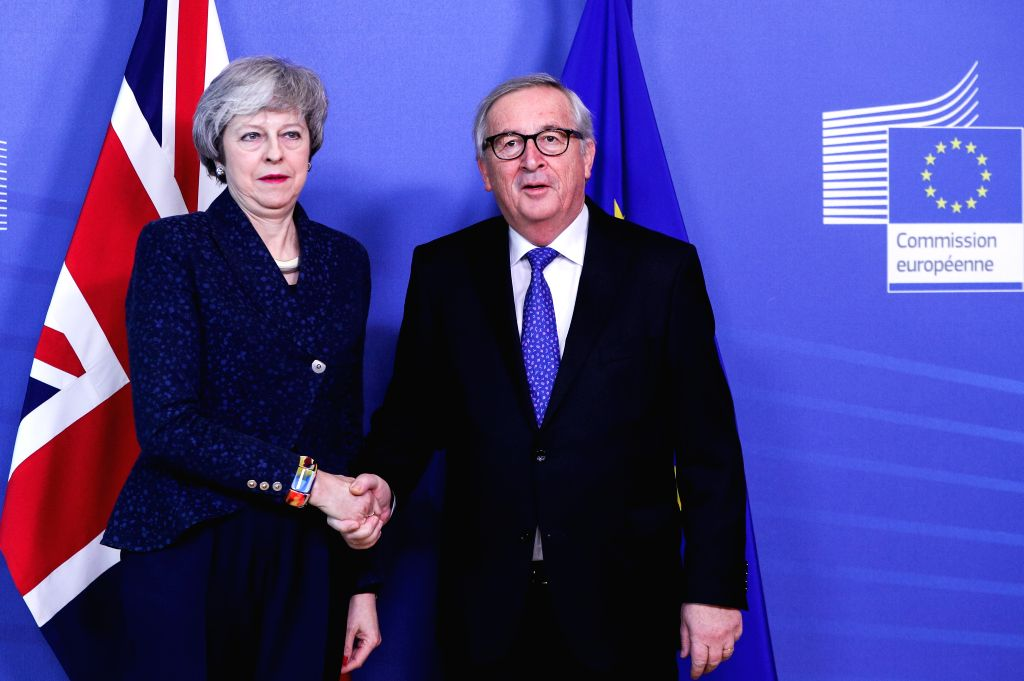 BRUSSELS, Feb. 7, 2019 - British Prime Minister Theresa May (L) meets with European Commission President Jean-Claude Juncker in Brussels, Belgium, Feb. 7, 2019. - Theresa May