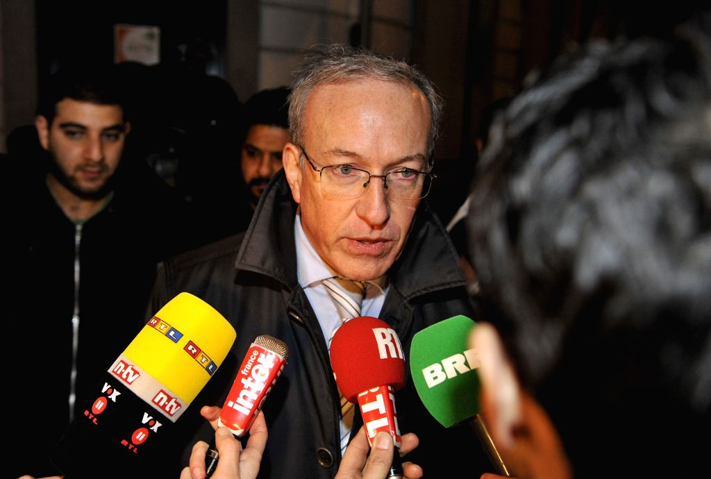 Mayor of Verviers Marc Elsen speaks to the press after two people have been killed and the third person was injured in an police anti-terrorism operation in ...
