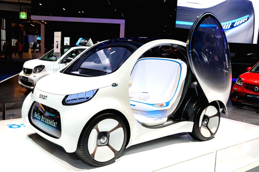 BRUSSELS, Jan. 18, 2019 - A smart vision EQ fortwo concept vehicle is seen at the 97th Brussels Motor Show in the Brussels Expo in Brussels, Belgium, Jan. 18, 2019. The 97th Brussels Motor Show will ...