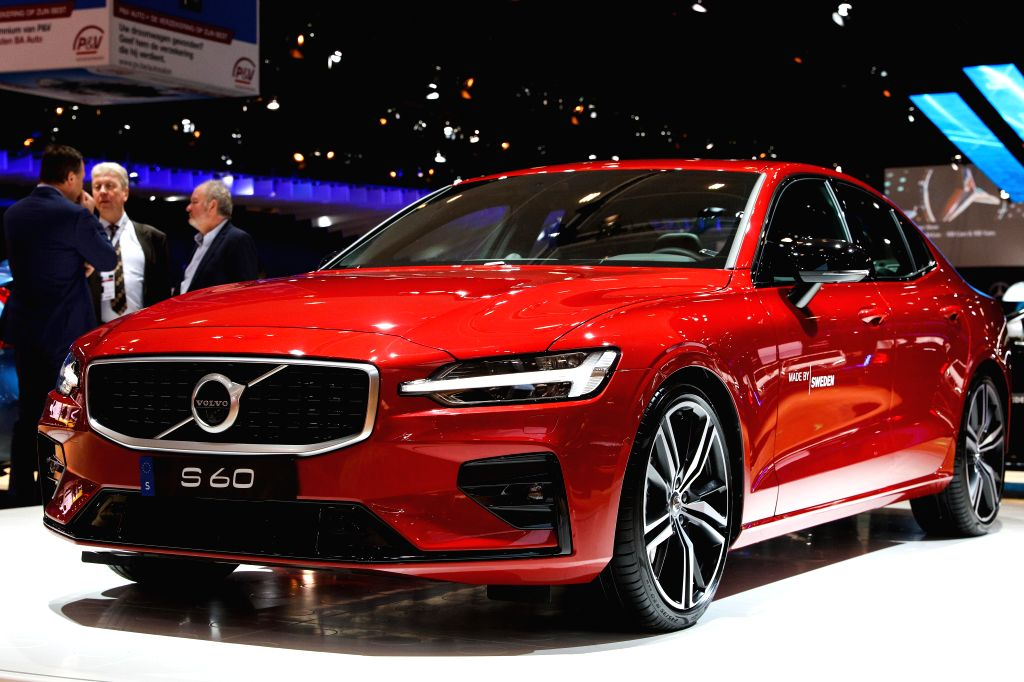 BRUSSELS, Jan. 18, 2019 - A Volvo S60 car is seen during its European premiere at the 97th Brussels Motor Show in the Brussels Expo in Brussels, Belgium, Jan. 18, 2019. The 97th Brussels Motor Show ...