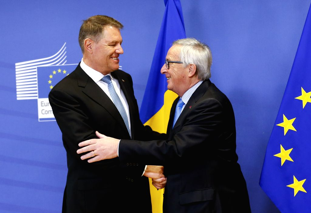 BRUSSELS, Jan. 31, 2018 - European Commission President Jean-Claude Juncker (R) meets with visiting Romanian President Klaus Iohannis in Brussels, Belgium, Jan. 31, 2018.