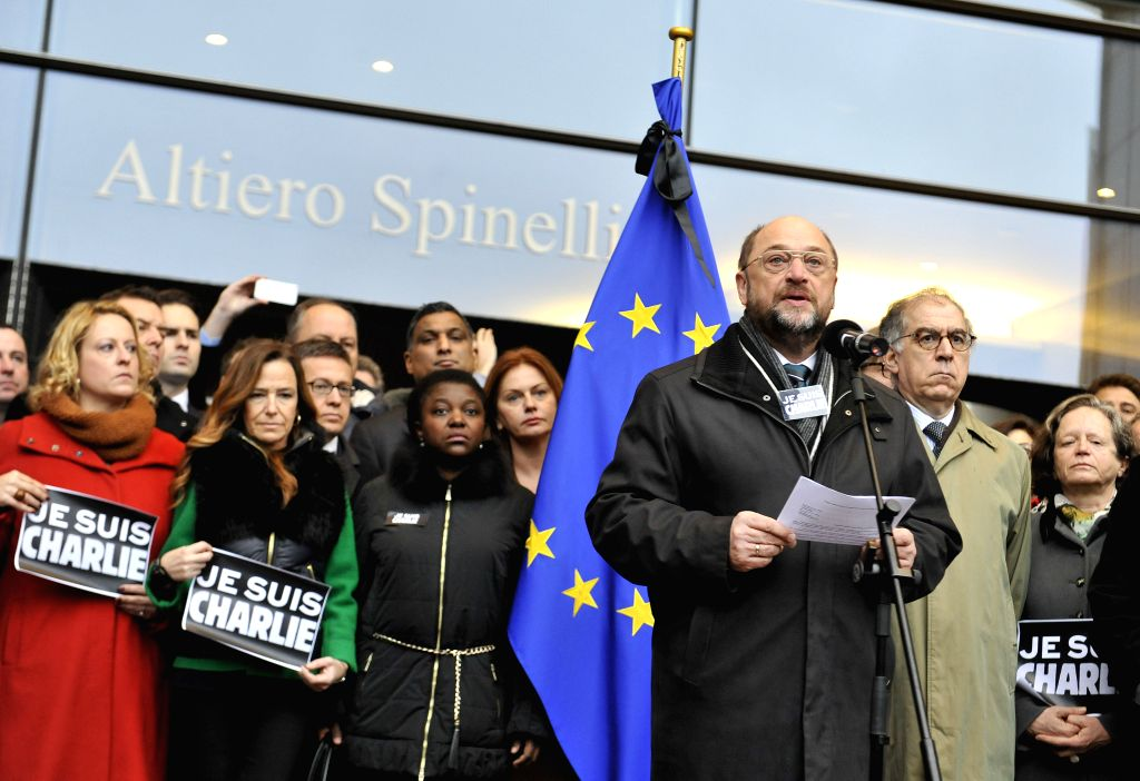 European Parliament President Martin Schulz and members of the European Parliament attend a mourning ceremony for victims of the January 7 attack against French ...