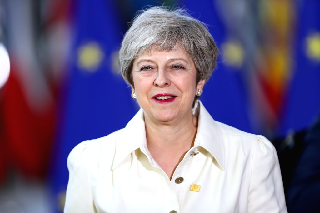 BRUSSELS, July 1, 2019 (Xinhua) -- British Prime Minister Theresa May arrives for the special summit of the European Council in Brussels, Belgium, on June 30, 2019. Leaders of the European Union's 28 member states started gathering on Sunday afternoo - Theresa May