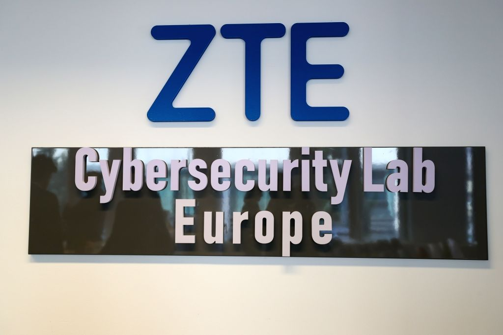 BRUSSELS, July 10, 2019 - Photo taken on July 9, 2019 shows the ZTE Cybersecurity Lab Europe logo and plaque in Brussels, Belgium. Chinese telecom giant ZTE launched its Cybersecurity Lab Europe in ...