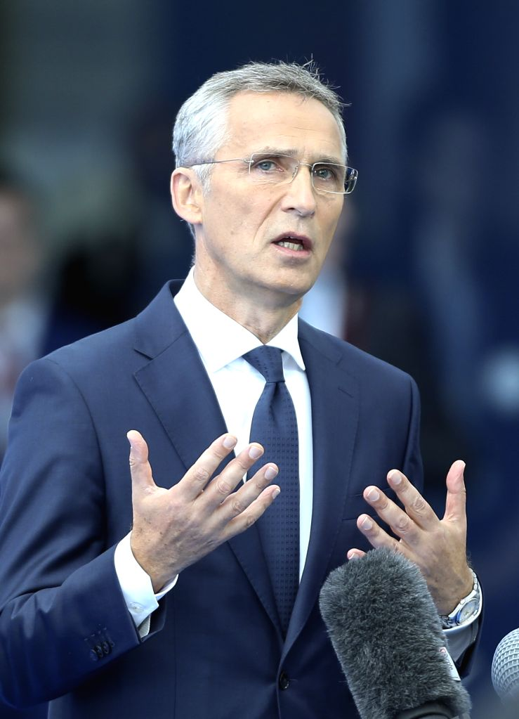 BRUSSELS, July 11, 2018 - NATO Secretary General Jens Stoltenberg speaks to media prior to a NATO summit in Brussels, Belgium, July 11, 2018. NATO leaders gather in Brussels for a two-day meeting.
