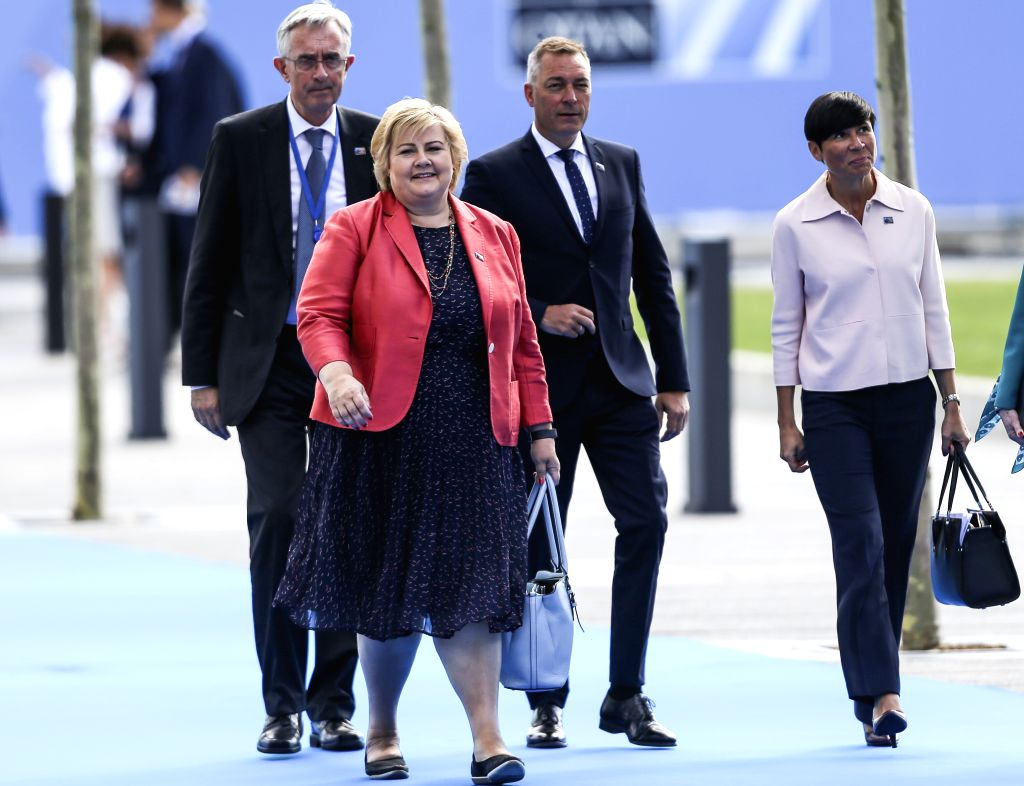 BRUSSELS, July 11, 2018 - Norway's Prime Minister Erna Solberg (front) arrives at a NATO summit in Brussels, Belgium, July 11, 2018. NATO leaders gather in Brussels for a two-day meeting. - Erna Solberg