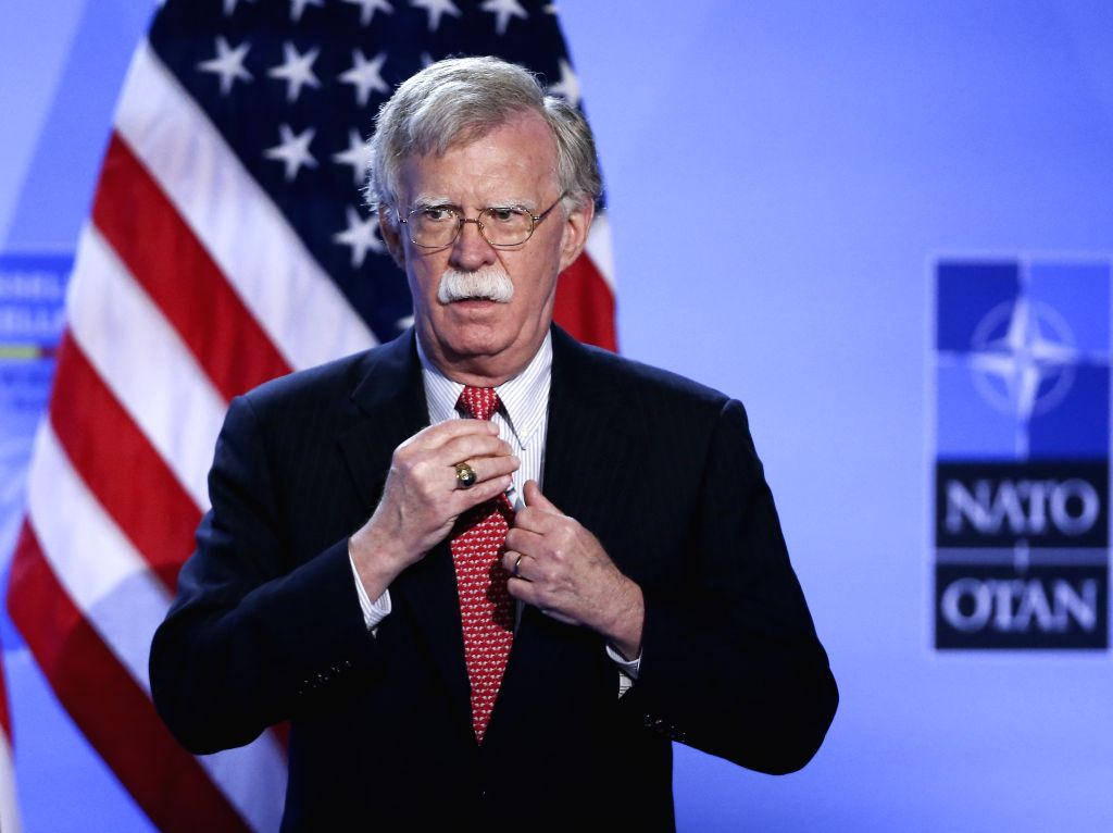BRUSSELS, July 12, 2018 - U.S. National Security Advisor John Bolton attends a press conference by  U.S. President Donald Trump on the second day of the NATO Summit in Brussels, Belgium, on July 12, ...