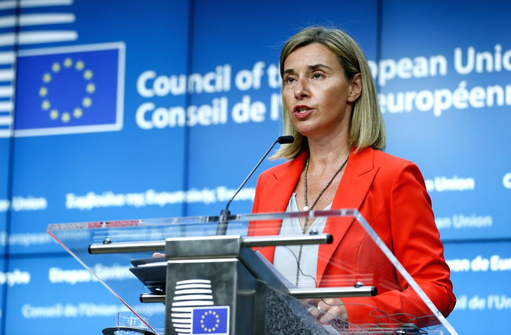 BRUSSELS, July 18, 2016 - EU high representative for foreign affairs and security policy Federica Mogherini addresses a joint press conference with U.S. Secretary of State John Kerry (not seen) after ...