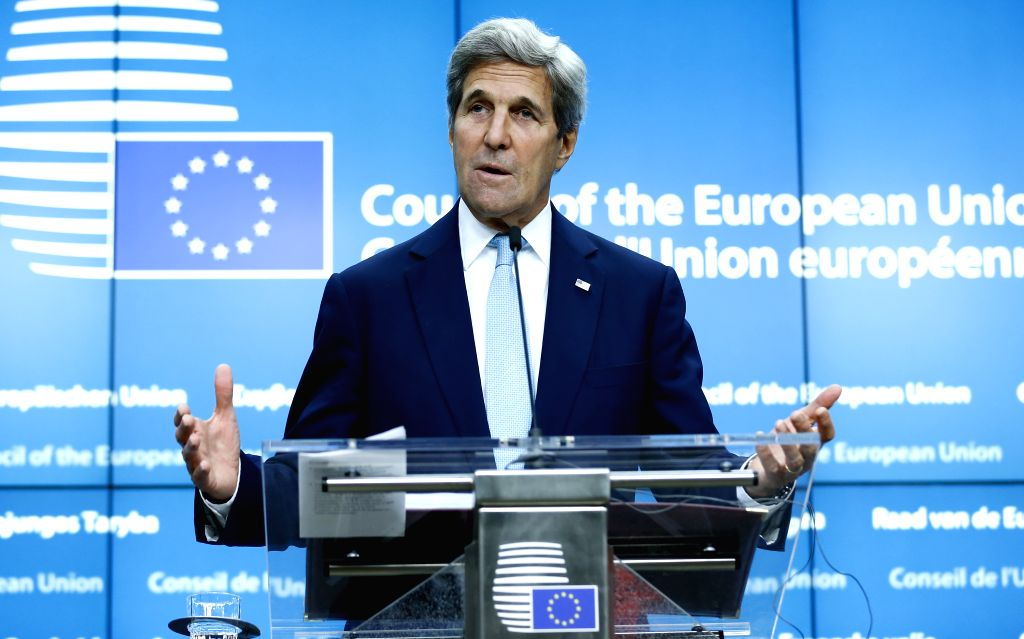 BRUSSELS, July 18, 2016 - U.S. Secretary of State John Kerry addresses a joint press conference with EU high representative for foreign affairs and security policy Federica Mogherini (not seen) after ...