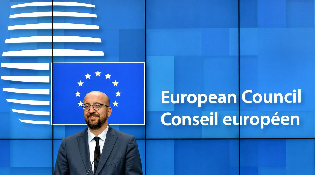 BRUSSELS, July 2, 2019 (Xinhua) -- Belgian Prime Minister and president-elect of the European Council Charles Michel attends a press conference after the special summit of the European Council in Brussels, Belgium, on July 2, 2019. The European Union