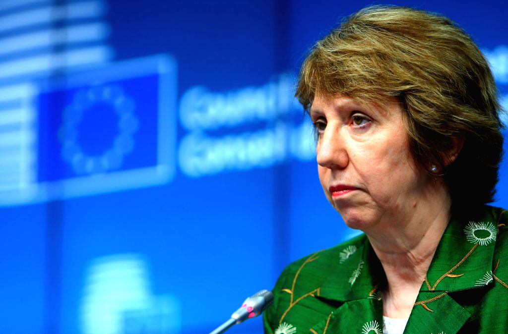 EU foreign policy chief Catherine Ashton attends a press confernece after an EU foreign ministers' meeting in Brussels, Belgium, on July 22, 2014.