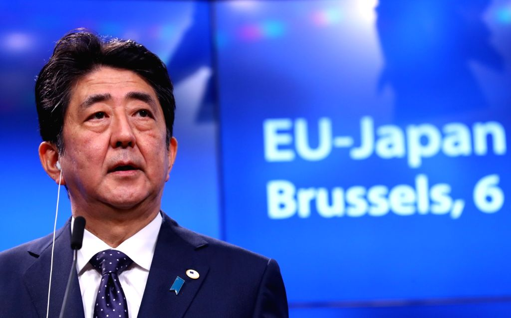 BRUSSELS, July 6, 2017 - Japanese Prime Minister Shinzo Abe attends a press conference after the EU-Japan Summit in Brussels, Belgium, July 6, 2017. The European Union (EU) and Japanese leaders ... - Shinzo Abe