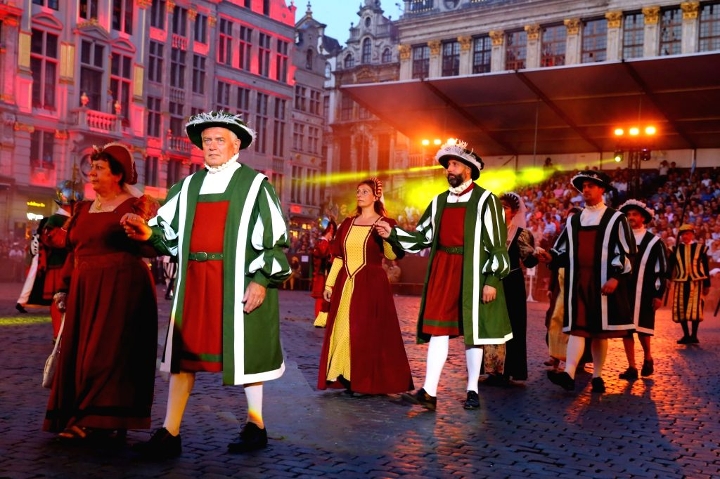 BRUSSELS, July 7, 2017 - Performers participate in the annual procession of Ommegang at the Grand Place in Brussels, capital of Belgium, July 5, 2017. The annual pageant Ommegang is to reenact the ...