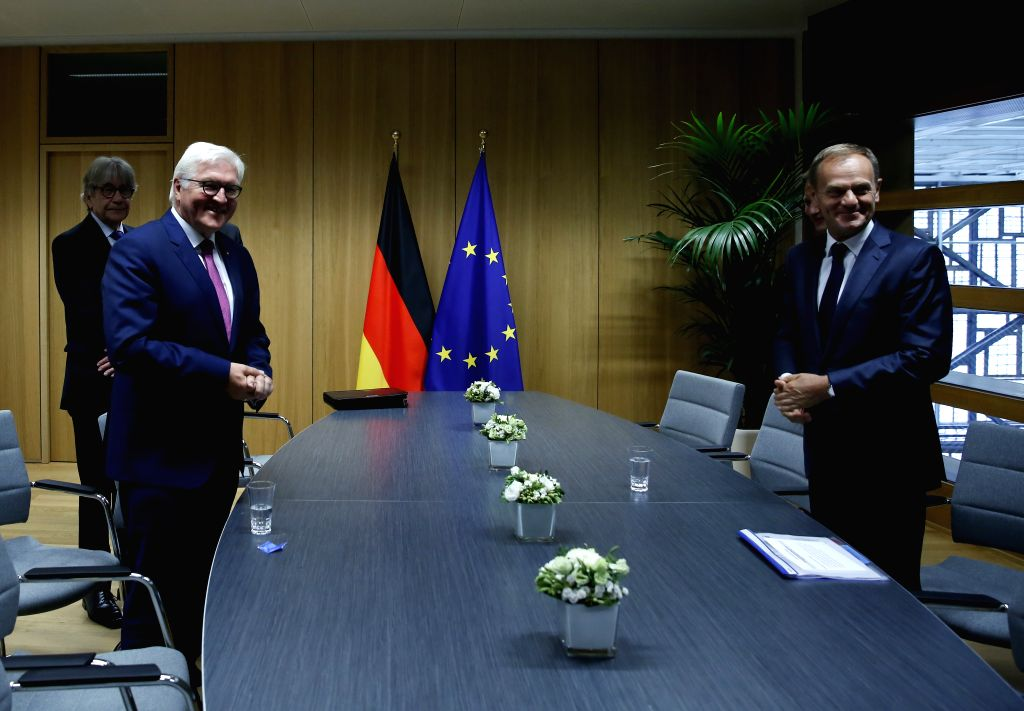 BRUSSELS, June 16, 2017 - The European Council President Donald Tusk (R) meets with visiting German President Frank-Walter Steinmeier at EU Council headquarters in Brussels, Belgium, June 16, 2017.