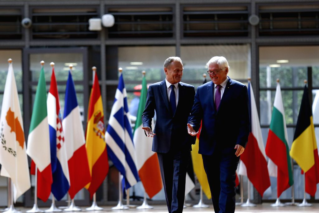 BRUSSELS, June 16, 2017 - The European Council President Donald Tusk (L) meets with visiting German President Frank-Walter Steinmeier at EU Council headquarters in Brussels, Belgium, June 16, 2017.