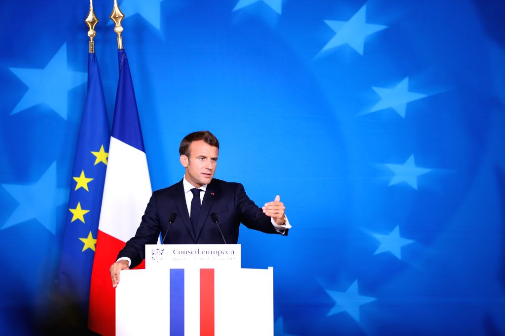 BRUSSELS, June 21, 2019 (Xinhua) -- French President Emmanuel Macron attends a press conference after the EU summer summit in Brussels, Belgium, on June 21, 2019. (Xinhua/Zhang Cheng/IANS)