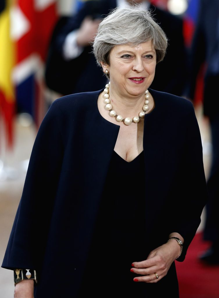 BRUSSELS, June 22, 2017 - British Prime Minister Theresa May arrives to attend a two-day EU Summit in Brussels, Belgium, June 22, 2017. - Theresa May