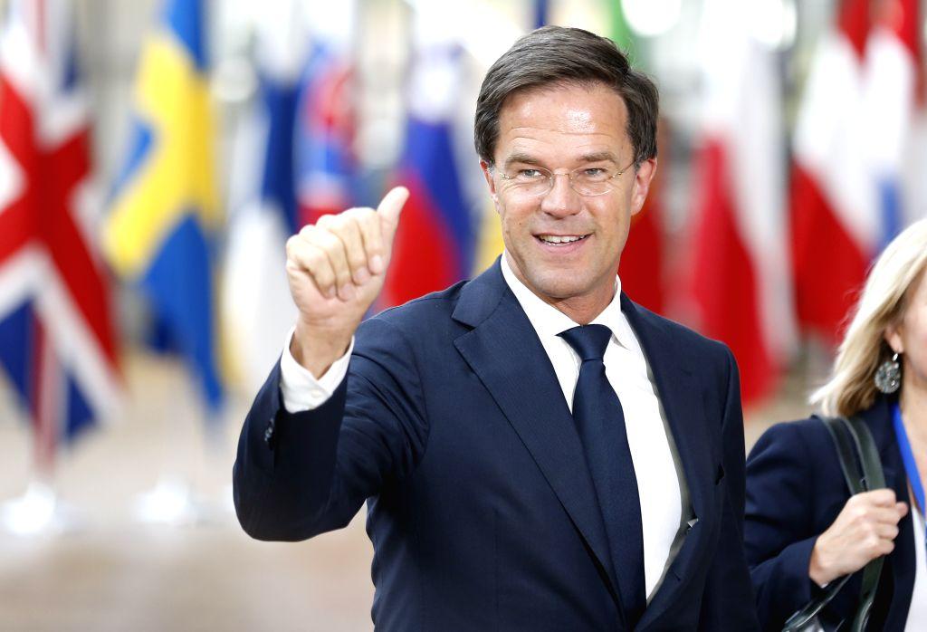 BRUSSELS, June 22, 2017 - Dutch Prime Minister Mark Rutte arrives to attend a two-day EU Summit in Brussels, Belgium, June 22, 2017. - Mark Rutte