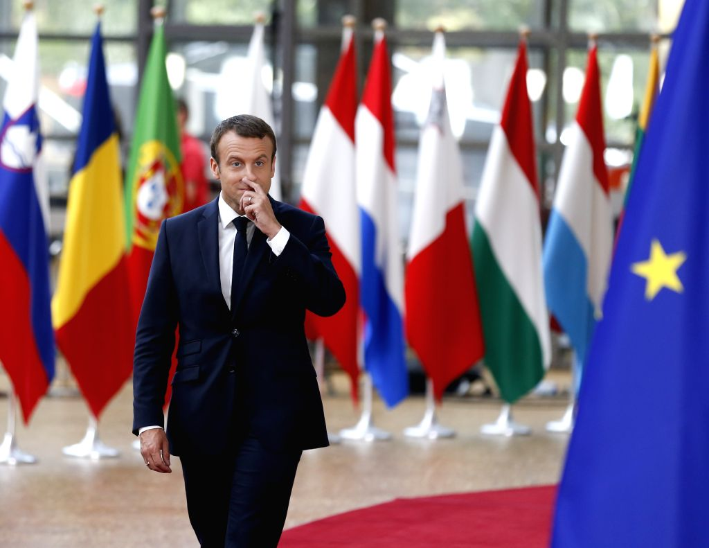 BRUSSELS, June 22, 2017 - French President Emmanuel Macron arrives to attend a two-day EU Summit in Brussels, Belgium, June 22, 2017.