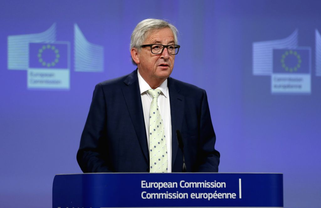 BRUSSELS, June 24, 2016 - European Commission President Jean-Claude Juncker addresses a news conference on Britain's referendum result in Brussels, Belgium, June 24, 2016.