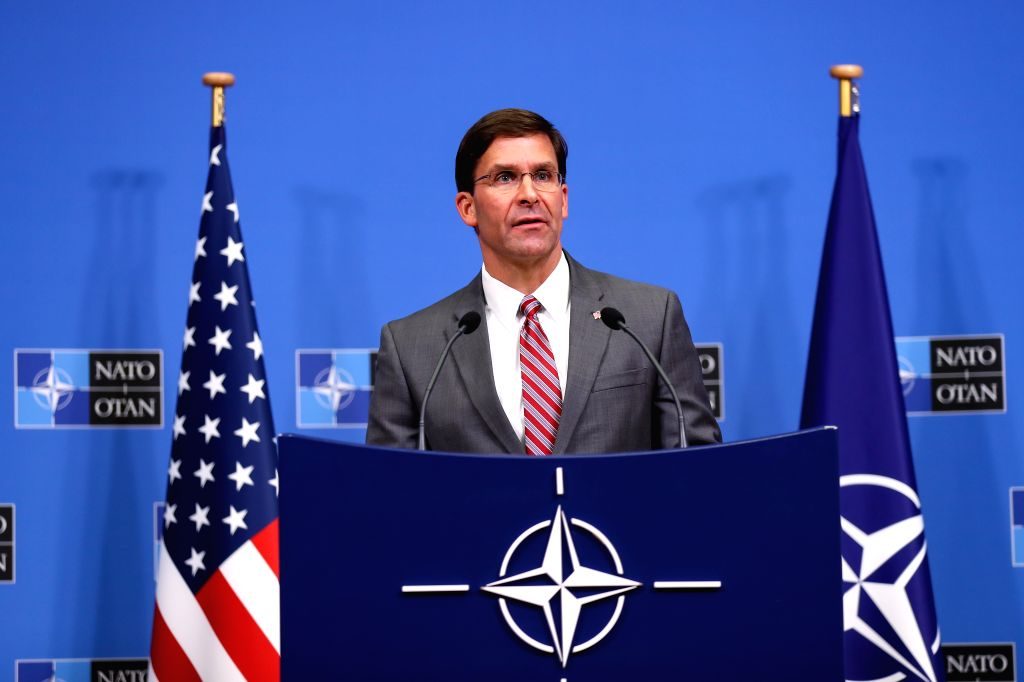 BRUSSELS, June 28, 2019 (Xinhua) -- U.S. Acting Secretary of Defense Mark Esper attends a press conference after a NATO defense ministers meeting at NATO headquarters in Brussels, Belgium, on June 27, 2019. The two-day NATO defense ministers meeting