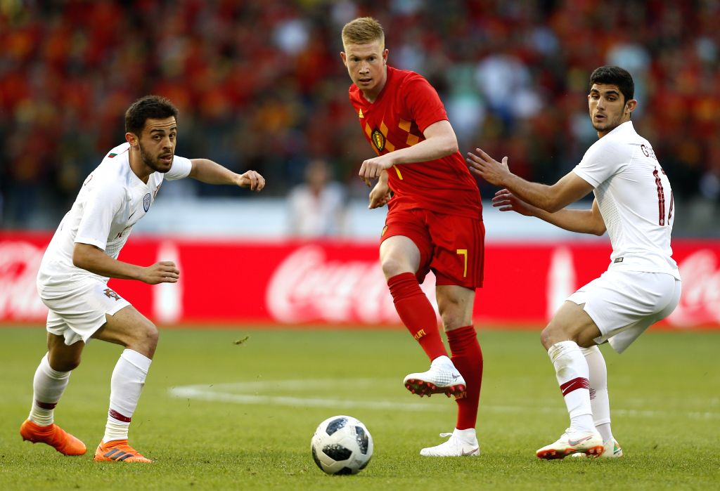 BRUSSELS, June 3, 2018 - Kevin De Bruyne of Belgium (C) passes the ball during the International Friendly soccer match between Belgium and Portugal at the King Baudouin stadium in Brussels, Belgium, ...