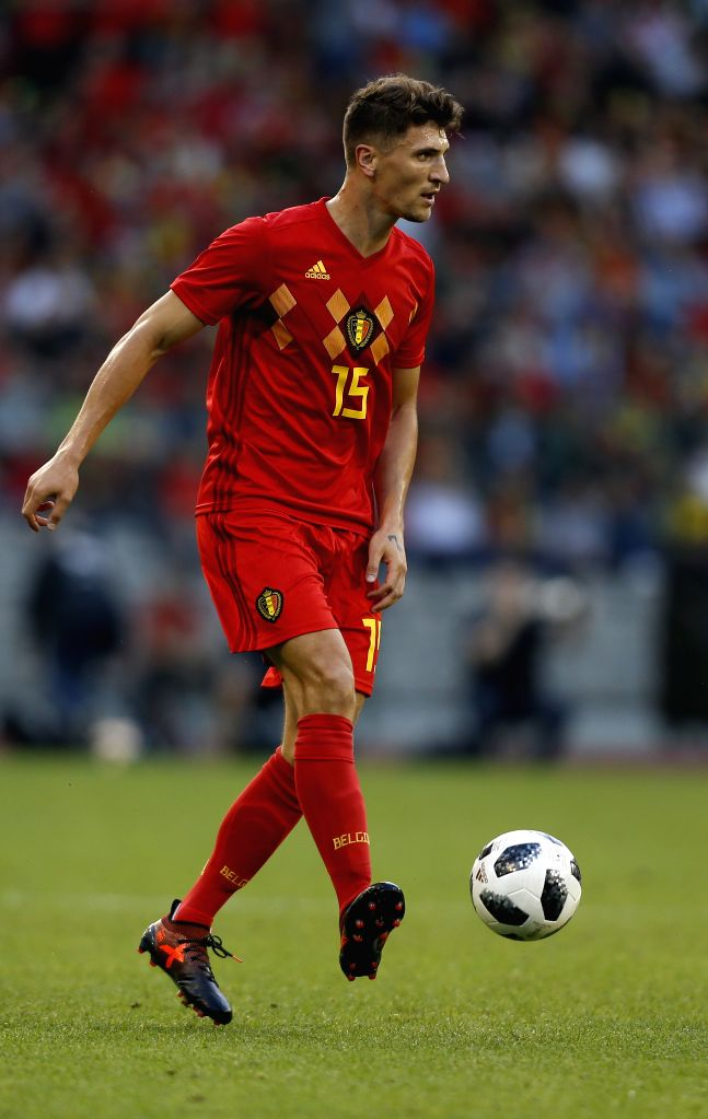 BRUSSELS, June 3, 2018 - Thomas Meunier of Belgium controls the ball during the International Friendly soccer match between Belgium and Portugal at the King Baudouin stadium in Brussels, Belgium, ...