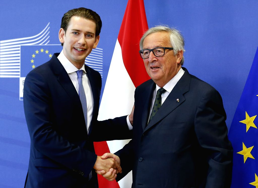 BRUSSELS, June 6, 2018 - European Commission President Jean-Claude Juncker (R) meets with Austrian Chancellor Sebastian Kurz at the European Commission headquarters in Brussels, Belgium, June 6, 2018.