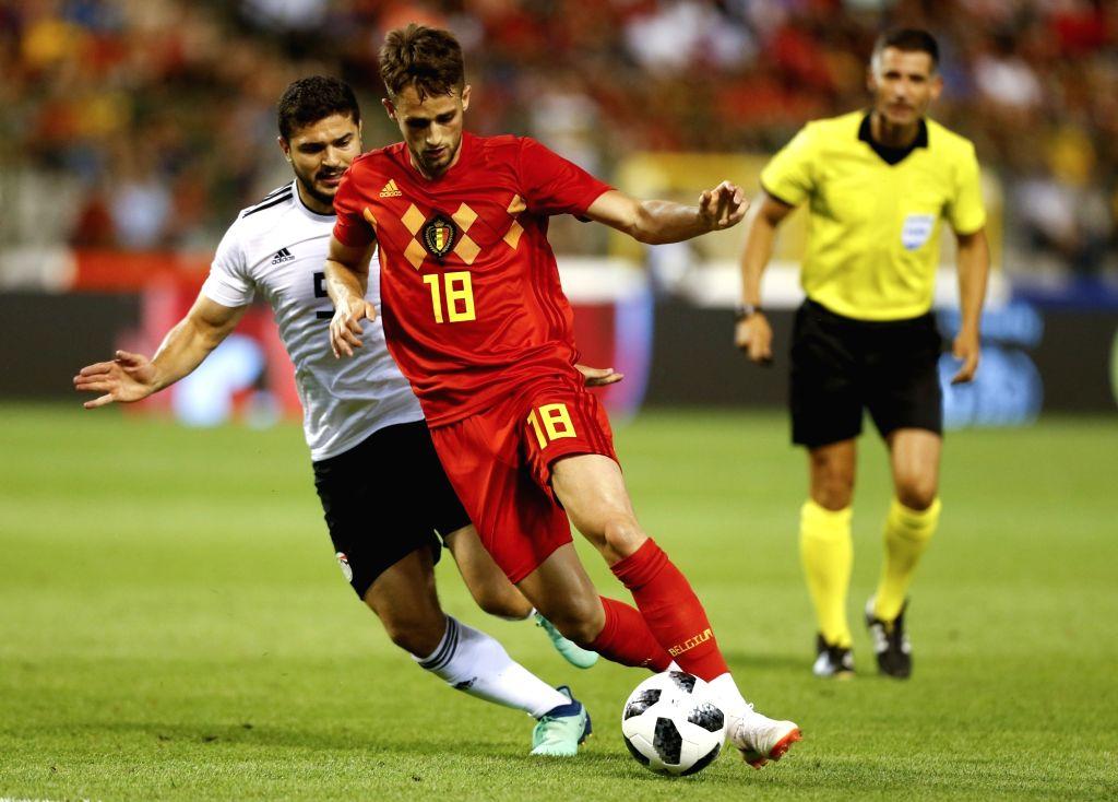 BRUSSELS, June 7, 2018 - Adnan Januzaj (C) of Belgium controls the ball during an international friendly soccer match between Belgium and Egypt at the King Baudouin stadium in Brussels, Belgium, June ...