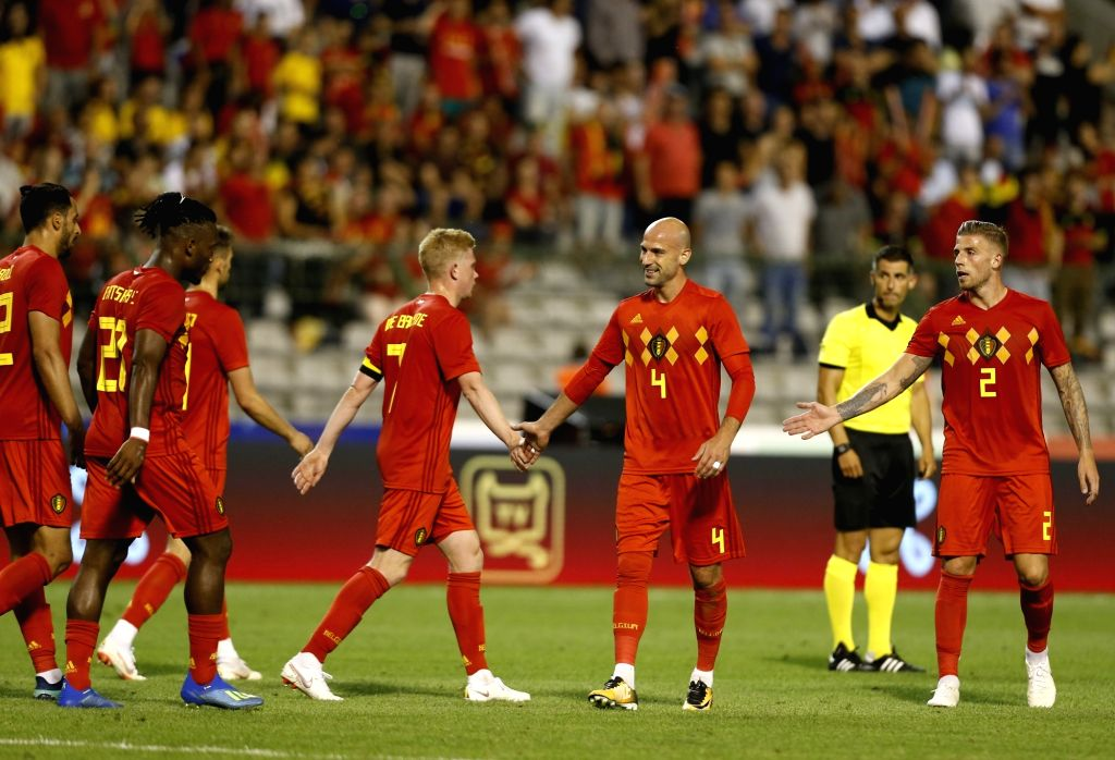 BRUSSELS, June 7, 2018 - Belgian players celebrate after winning an international friendly soccer match against Egypt with 3-0 at the King Baudouin stadium in Brussels, Belgium, June 6, 2018.
