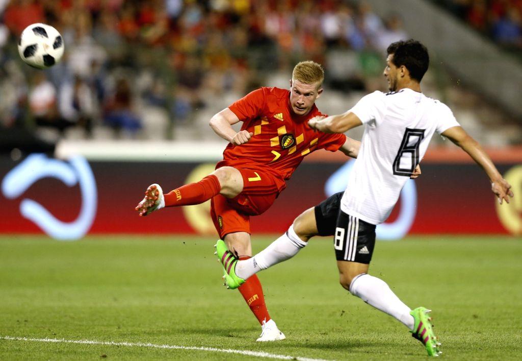 BRUSSELS, June 7, 2018 - Kevin De Bruyne (L) of Belgium shoots during an international friendly soccer match between Belgium and Egypt at the King Baudouin stadium in Brussels, Belgium, June 6, 2018. ...