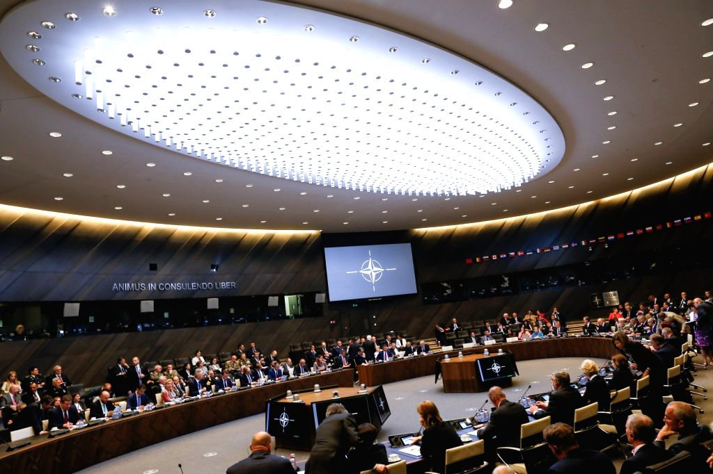BRUSSELS, June 7, 2018 - Photo taken on June 7, 2018 shows a general view of the plenary room at the start of a NATO Defense Ministers meeting, in Brussels, Belgium.