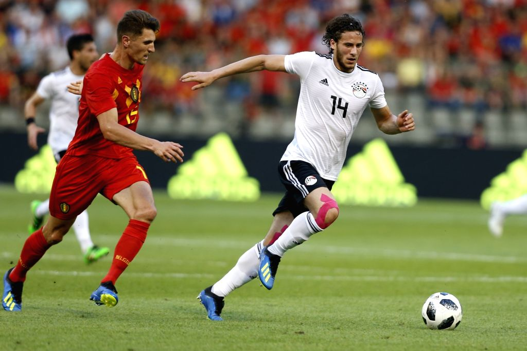 BRUSSELS, June 7, 2018 - Thomas Meunier (L) of Belgium vies with Ramadan Sobhy of Egypt during an international friendly soccer match between Belgium and Egypt at the King Baudouin stadium in ...