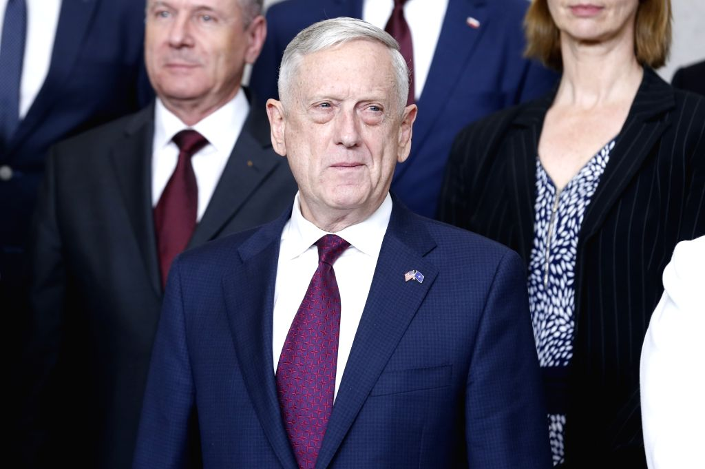BRUSSELS, June 7, 2018 - U.S. Defense Secretary Jim Mattis is seen at family photo session during a NATO defense ministers meeting at its headquarters in Brussels, Belgium, June 7, 2018.