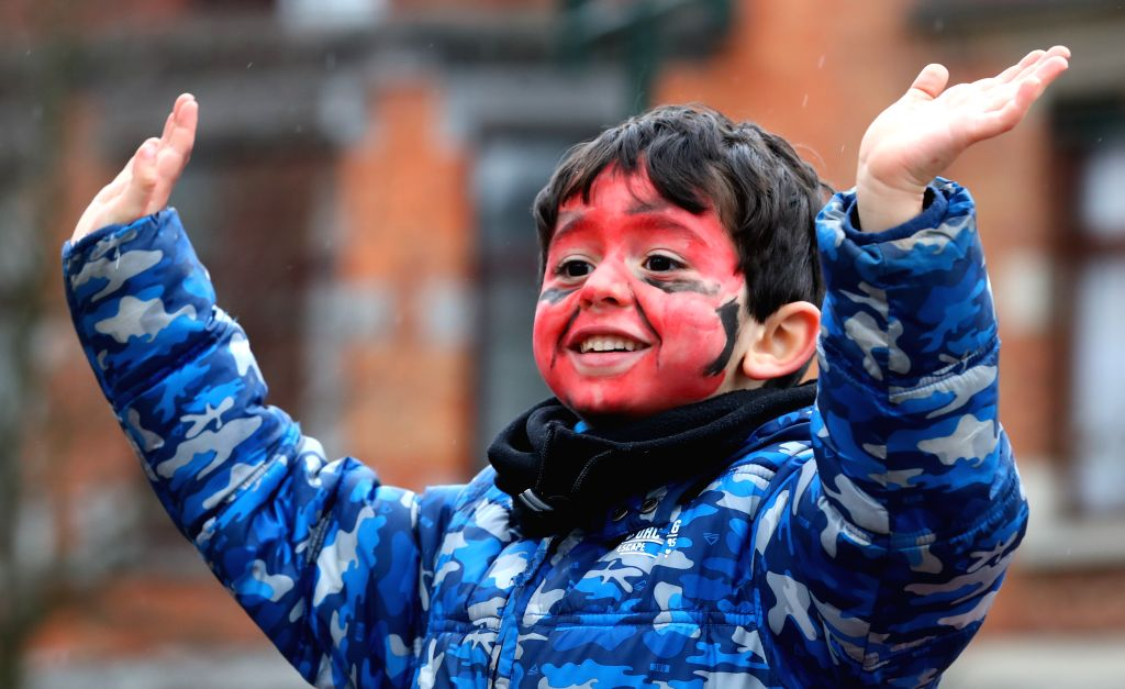 BRUSSELS, March 1, 2017 - A boy takes part in a carnival for children in Brussels, capital of Belgium, Feb. 28, 2017.