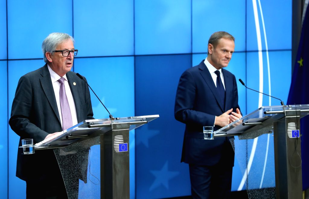 BRUSSELS, March 10, 2017 - European Council President Donald Tusk (R) and European Commission President Jean-Claude Juncker attend a joint press conference after the European spring summit in ...