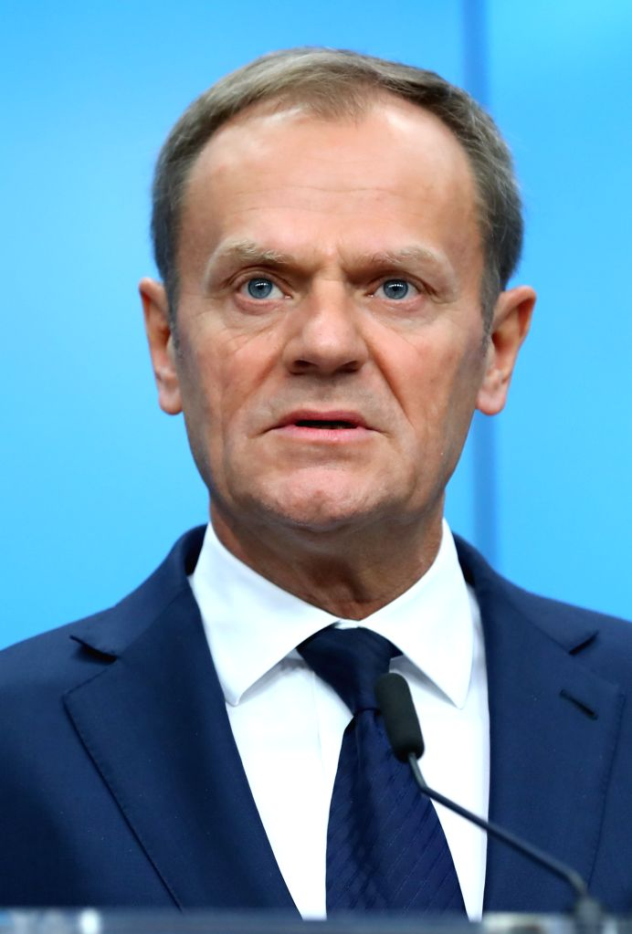 BRUSSELS, March 10, 2017 - European Council President Donald Tusk attends a joint press conference after the European spring summit in Brussels, Belgium on march 10, 2017. The leaders reportedly ...