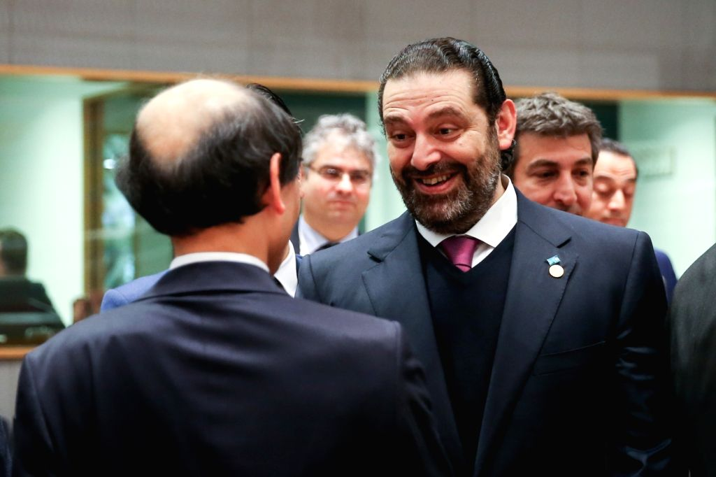 """BRUSSELS, March 14, 2019 - Lebanon's Prime Minister Saad al-Hariri (R) attends the third conference on """"Supporting the future of Syria and the region"""" - Meeting of Foreign Ministers at the ... - Saad"""