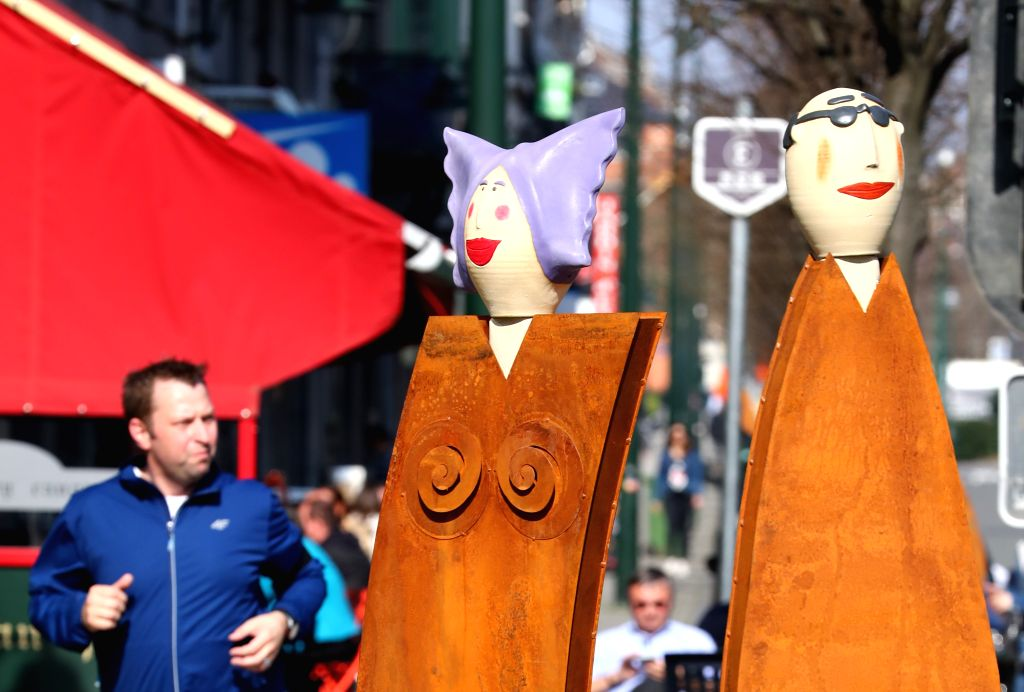 """BRUSSELS, March 17, 2017    Photo taken on March 16, 2017 shows the sculptures """"European Citizens"""" marking the 60th anniversary of Treaty of Rome in Brussels, Belgium. The Treaty ..."""