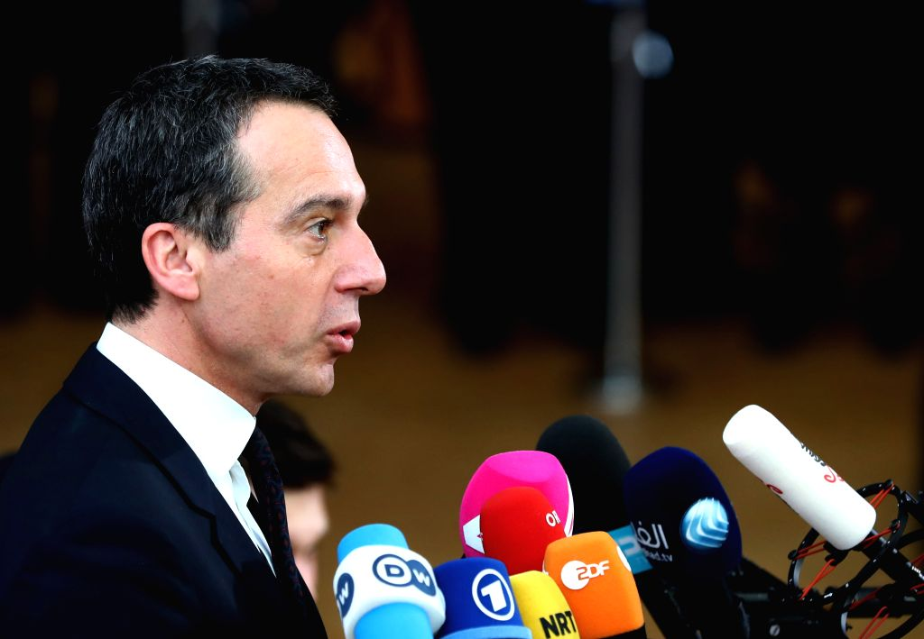 BRUSSELS, March 9, 2017 - Austrian Chancellor Christian Kern speaks to media upon his arrival for the EU spring summit in Brussels, Belgium, on March 9, 2017. The European Council kicked off its ...