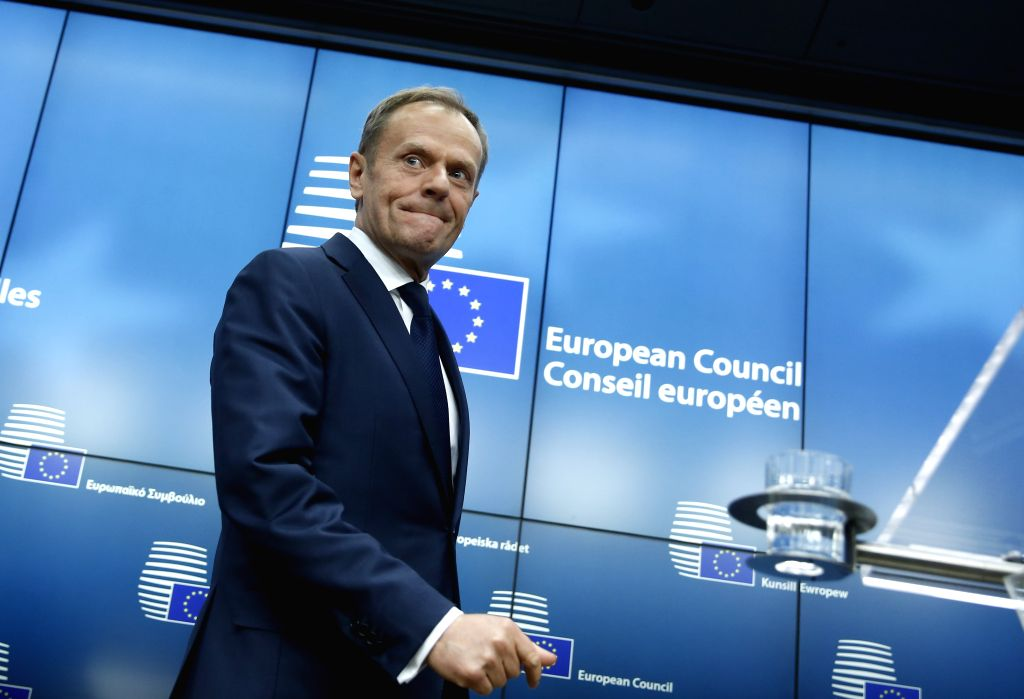 BRUSSELS, March 9, 2017 - European Council President Donald Tusk arrives at a press conference at the end of the first day of the European Council spring summit in Brussels, Belgium, on March 9, ...