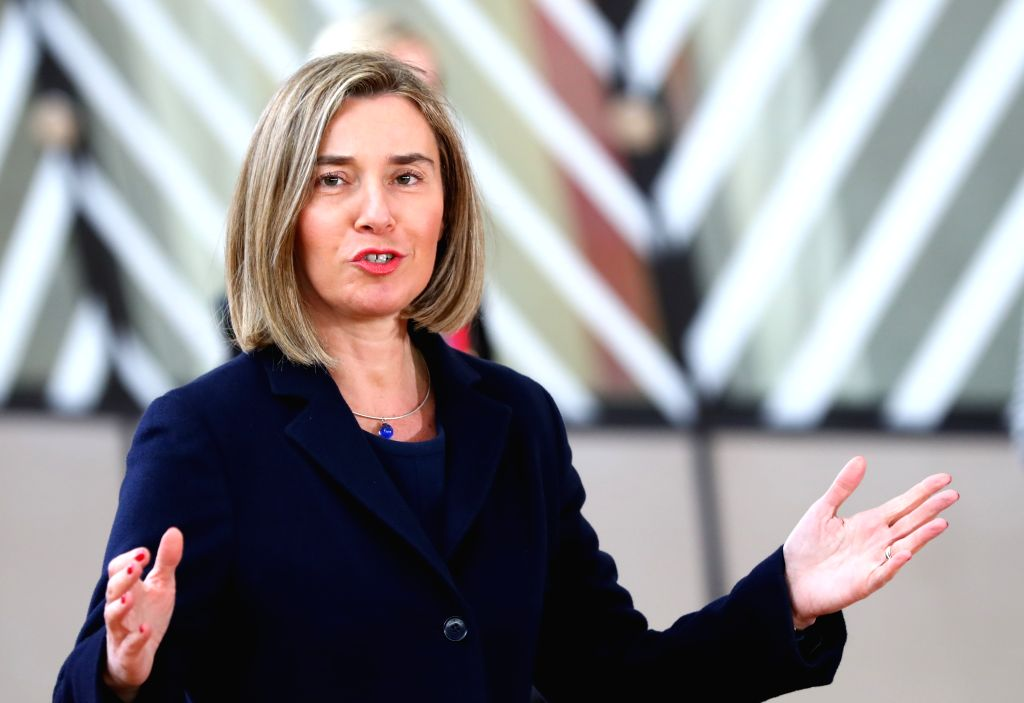 BRUSSELS, March 9, 2017 - European Union (EU) foreign policy chief Federica Mogherini arrives for the EU spring summit in Brussels, Belgium, on March 9, 2017. The European Council kicked off its ...