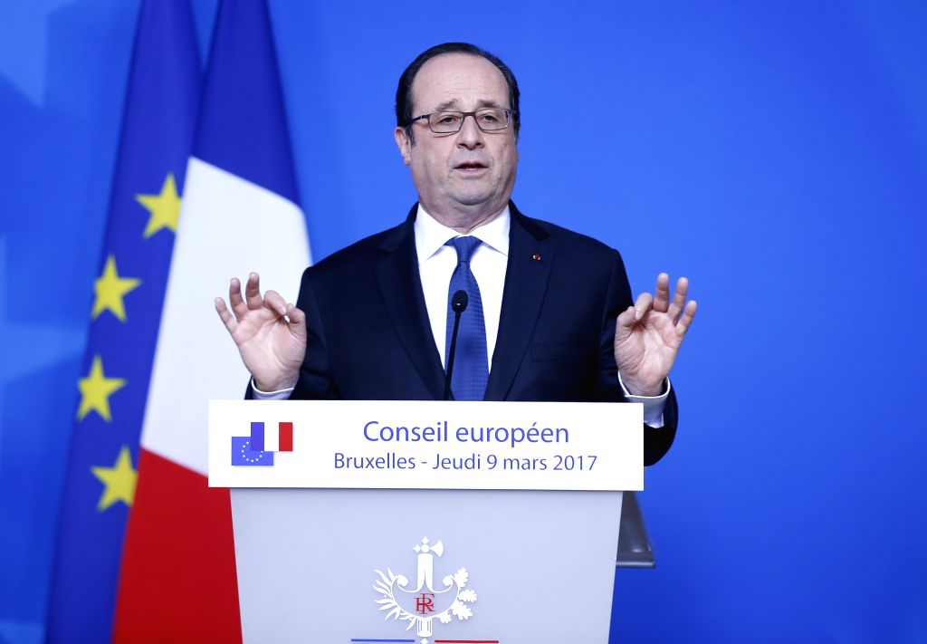 BRUSSELS, March 9, 2017 - French President Francois Hollande addresses a press conference at the end of the first day of the EU spring summit in Brussels, Belgium, on March 9, 2017. The European ...