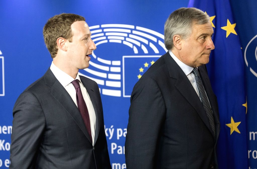 BRUSSELS, May 22, 2018 - Founder and CEO of Facebook Mark Zuckerberg (L) and European Parliament President Antonio Tajani are seen ahead of a meeting at the European Parliament in Brussels, Belgium, ...